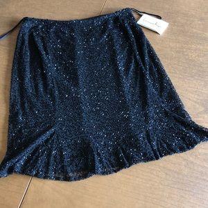 NWT LAWRENCE KAZAR - Black Beaded Formal Skirt L